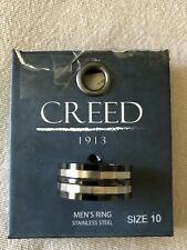 CREED- MENS 1913 MENS ACCES  STAINLESS STEEL RING  SIZE 10