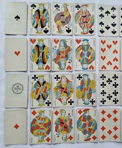 ANTIQUE PLAYING CARDS PARIS PATTERN NO INDICES STENCIL COLOURS LION WATERMARK