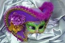 Women Light Pirate Hat Theater Mardi Gras Masquerade Mask - Green/Purple/Gold