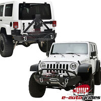 LED Light Style Front Bumper+Rear Bumper With Tire Carrier for 07-16 Jeep JK