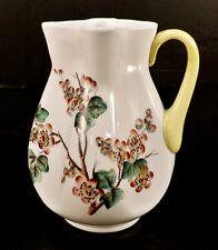 Antique Victorian Hand Painted Dogwood Flower Art Glass Pitcher Carafe