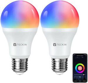 TECKIN Alexa WiFi Smart Light Bulb E27  Multicolour with Warm Light, 2 pack