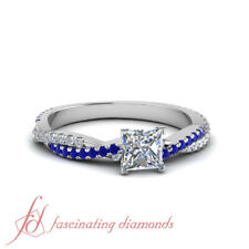 Princess Diamond Twisted Engagement Rings With Round And Sapphire Accents 1.1 Ct