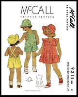 McCall #9215 GIRLS Dress Frock Sunsuit Hat Fabric Sewing PATTERN
