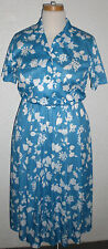 1965-1976 Vintage Summer Dress Belt Blue White Flower Buttons Polyester Sz10