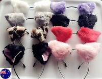Women Lady Kids Fluffy Fancy Cat Kitty fox Costume Ear Party Hair head band Prop