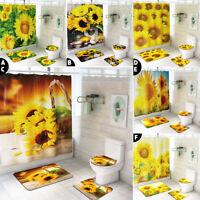 4Pcs Sunset Sunflower Home Shower Curtain Bathroom Toilet Seat Cover Mat Kit Set