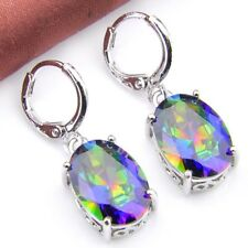 Lady Valentine's Gift Pear Shaped Mystical Rainbow Topaz Gems Silver Eearrings