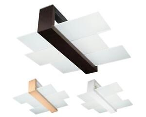 Lampe Glas Braun Weiß Naturholz Deckenleuchten Feniks 2x60W E-27 Deckenlampe