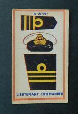 Rare 1930's Sweetacre Card Australian Fighting Force Badges Lt. Commander R.A.N.