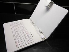 "White PU Leather USB Keyboard Carry Case/Stand for Coby Kyros 8"" Inch Tablet"