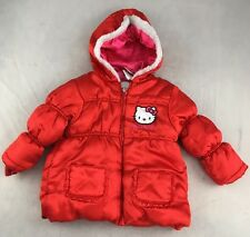 Euc HELLO KITTY red Satin Puffy Jacket winter coat 2T FAUX FUR TRIM HOOD