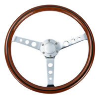 Universal 15''/380 mm Wood Grain Trim Classic Chrome Spoke Steering Wheel Wooden