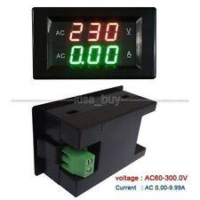 Digital LED AC Voltmeter Ammeter Panel Amp Volt Gauge 80-300V 10A Dual Display