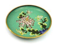 Vintage Antique Cloisonne Dish Bowl Floral Spray 23 cm