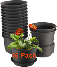 15 Pack Plant Pots 6 inches Plastic Planters with Drainage Hole and Tray