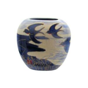 Anita Harris Art Pottery Blue Bird Design Blue & White Lustre 12cm Vase