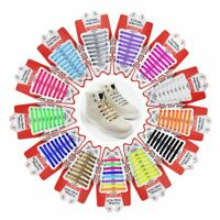 16PCS Easy No Tie Shoelaces Elastic Flat Shoe Lace Trainers Lazy Silicone Laces