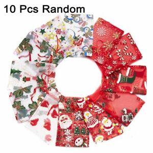 10pcs 2021 Christmas Candy Gifts Bag Gauze Drawstring Snowflake Random Style NEW