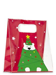 Holiday Polar Bear Christmas Gift Bag Bath and Body Works Clear PVC Reusable Med