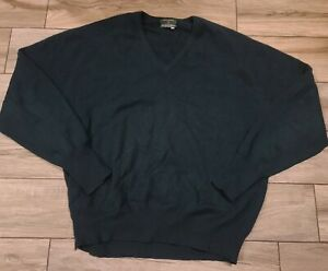 The Scotch House Cashmere Sweater Sz 48 Solid Green V Neck Pullover Men