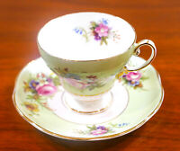 A. Taylor Hand Painted PINK ROSES EB Foley England Tea Cup & Saucer Set