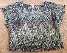 Free 2 Luv Women's Junior Plus 3x Shirt Teal Pink Black Blouse