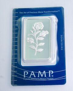 Rare Pamp Suisse Rose 50 Gram .999 Silver Bar with Assay Card BU, SEALED