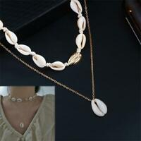 Women Fashion Beach Sea Shell Cowrie Pendant Gold Choker Necklace Jewelry Gift