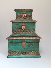 Large Fairtrade Handmade Vintage Wooden Traditional Indian Jewellery Boxes