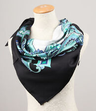 Pure Silk Twill Women Large Square Scarves Paisley Green Black Mothers Day Gifts