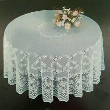 "Round Tablecloth White Lace  90"" Perfect for Wedding Party banquet dining."