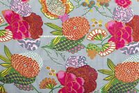 Indian Hand Block Print Cotton Fabric Dressmaking Sewing Grey Fruit Print 5 Yard