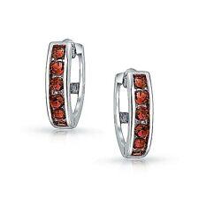 Channel Set Ruby Huggie Hoop Earrings in Solid Sterling Silver ~ Gorgeous Color