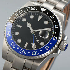 43mm PARNIS Black Dial SS Date Sapphire Glass GMT Automatic Movement men's Watch