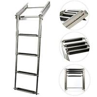 Folding Pontoon Boat 4-Step Telescoping Boarding Stainless Ladder Under Platform