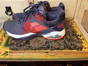 Babolat Kompressor Gray/ RedTennis Athletic Laced Up Shoes Sz US- 7.5M Women's