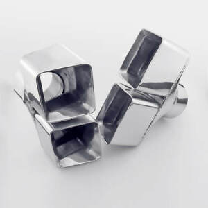 """A Pair 3"""" (76MM) Inlet Stainless Steel Exhaust Tips Square Quad Out Angle Cut"""