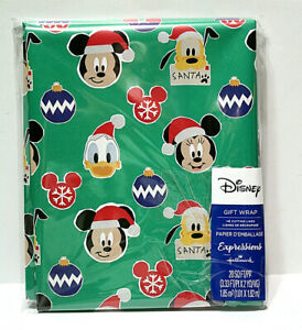 Disney Christmas Mickey & Friends Faces Gift Wrapping Paper 20 Sq Ft Grid Back