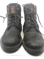 Boys Timberland Size 6 Waterproof Leather Ankle Boots Black Lace Up 10910