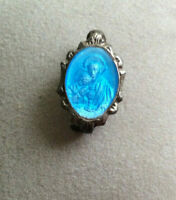 "Vintage Antique Blue Oval ""Remembrance of My First Holy Communion"" Pin"