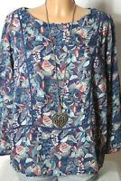 H&M Bluse Gr. 42 blau-weiß-türkis-lachs Blumen Langarm Tunika mit Häkelborten