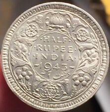 British India 1943 1/2 Half Rupee Bombay Mint- High Grade- Please See Pictures
