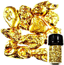10 PIECE ALASKAN NATURAL PURE GOLD NUGGETS WITH BOTTLE FREE SHIPPING (#B251)