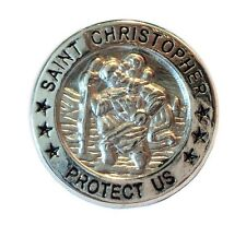 New St. Christopher Metal Badge Patron Saint of Travel Lucky Charm Protect Us