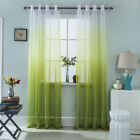Gradient+Grommet+Top+Sheer+Voile+Curtains+2+Panels+Green%2C52x84inch