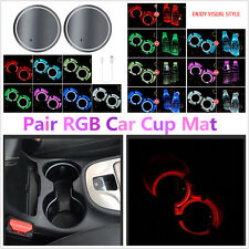2Pcs ABS 7 Colors LED USB Charger Car Cup Holder Bottom Pad Light Cover Cup Mat