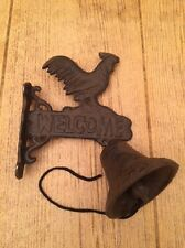"Small Rooster Welcome Bell Cast Iron Wall Mount Dinner Bell 8"" tall 0170S-02124"