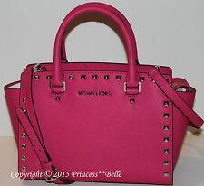 MICHAEL KORS Medium Stud Selma Satchel Leather Bag Purse Raspberry Pink