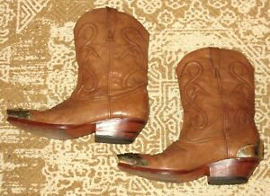 Womens Brown Leather Cowboy Boots with Metal Trim